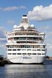 Cruiseschip Aida Aura in de haven van Aarhus in Denemarken Royalty-vrije Stock Afbeelding