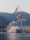 Cruiseschip in een scheepswerf met grote kranen wordt vastgelegd die stock foto