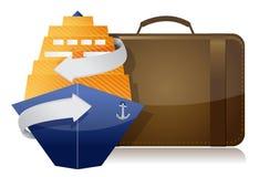 Cruiseschip en bagage Royalty-vrije Stock Afbeeldingen