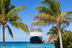 Cruiseschip en palmen in grote Turk Stock Foto
