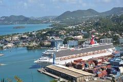 Cruiseschip in Hoofdstad van St Lucia Royalty-vrije Stock Afbeelding