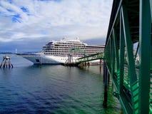 Cruiseschip in Ijzig Straatpunt dat wordt gedokt royalty-vrije stock foto