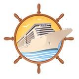 Cruiseschip op de stuurwielachtergrond Vectorillustratie voor reisontwerp Royalty-vrije Stock Afbeelding