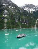 Cruiseschip in Tracy Arm Stock Afbeelding