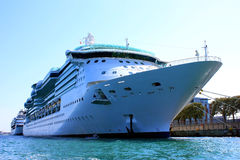 Cruiseship. A big cruise liner docked in a port Stock Photos