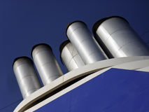 Cruiseship chimneys Royalty Free Stock Photography
