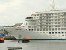 Cruiseship in de haven van Dublin Royalty-vrije Stock Foto's