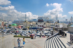 Cruiseship Diamond Princess on pier on in Vladivostok, Russia. View from the forecourt. VLADIVOSTOK, RUSSIA - SEPTEMBER 2, 2015: Cruiseship Diamond Princess on Stock Photo