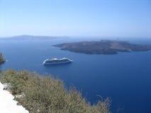 Cruiseship europe. View of nice Cruiseship in santorini royalty free stock photo