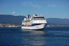 Cruiseship leaving Vancouver. Alaskan cruiseship ready to leave from Vancouver in May Royalty Free Stock Photos