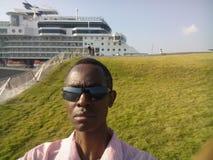 Cruiseship molo zdjęcia royalty free