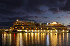 Cruiseship moored in Funchal, Madeira Stock Photo