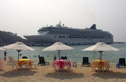 Cruiseship near the beach stock image