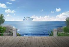 Cruiseship op Kust Stock Afbeelding