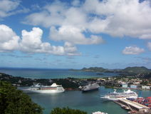 Cruiseship Port in St. Lucia. View of a Cruiseship port in St. Lucia stock photo