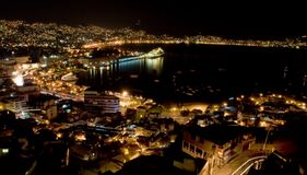 Cruiseship que reflete na noite Foto de Stock