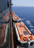 cruiseship rescueboats侧视图 库存照片