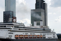 Cruiseship in Rotterdam Stock Photo