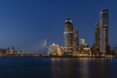 Cruiseship in Rotterdam at night stock images