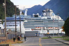 Cruiseship in Skagway Stock Image