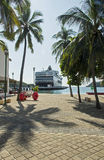 Cruiseship in tropical harbour Royalty Free Stock Photos