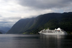 Cruiseship at Ulvik fjord. Cruise ship in the Sogne fjord, Norway Royalty Free Stock Image