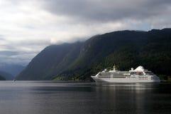 Cruiseship at Ulvik fjord Royalty Free Stock Image