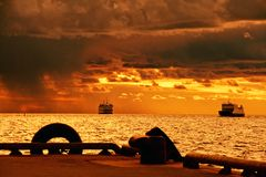 Cruiseships on stormy sea Stock Photo