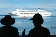 Cruising. P&O`s Ship, Pacific Dawn, cruises the South Pacific Islands. It is anchored at Mystery Island. During Wold War Two, it was used by USA as an Airfeild Royalty Free Stock Photography