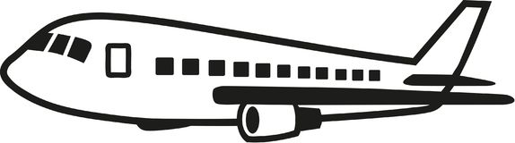 Cruising airrcraft with details. Vector Royalty Free Stock Image