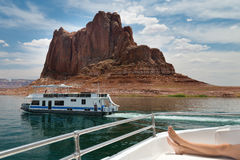 Cruising on a boat in lake powell Stock Photography