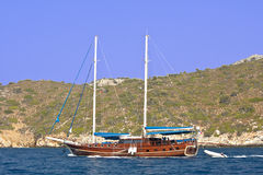 Cruising boat on Mediterranean, Stock Photos