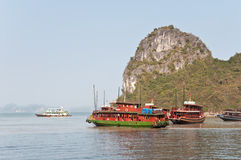 Cruising Boats in Halong Bay Stock Photography