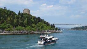 Cruising in the Bosphorus Strait in Istanbul Turkey stock video