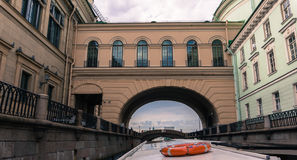 Cruising canals  through the  Hermitage Passage Royalty Free Stock Photography