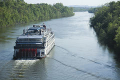 Cruising the Cumberland River. Paddle boat travels up the river seeking new adventures Stock Photography