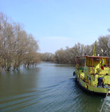 Cruising (Danube Delta). Yellow Boat Cruising Royalty Free Stock Photo