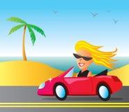 Cruising Girl. Woman cruising in a convertible at the beach Stock Image