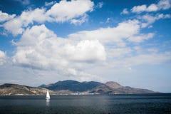 Cruising Greek Island. Sail boat cruising off Aegina island, Greece royalty free stock images