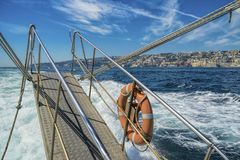 Cruising in the gulf of Naples stock photo