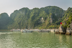 Cruising in Halong Bay, Vietnam. Ha Long Bay, in the Gulf of Tonkin, includes some 1,600 islands and islets, forming a spectacular seascape of limestone pillars Royalty Free Stock Photography