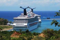 Cruising in Honduras. Cruise liners docked at Mahogany Bay on Roatan island (Honduras Stock Photography