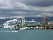 Cruising In Honolulu. The view of  cruise ship terminal and Aloha Tower in Honolulu, the capital of Hawaii Stock Images