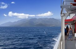 Cruising at the Ionian sea in Greece Stock Photos