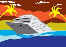 Cruising line. Illustration of great cruising ship on the sea Royalty Free Stock Image