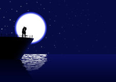 Cruising love. Vector romantic couple silhouette on the cruiser in the night, eps10 file, transparency used Royalty Free Stock Images