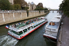 Cruising by Notre Dame Royalty Free Stock Photo