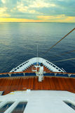 Cruising on ocean liner, pov from the deck. Cruising on ocean liner, point of view from the upper deck Royalty Free Stock Photo