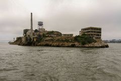 Cruising past Alcatraz Island and the Prison royalty free stock images