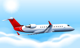 A cruising plane in the sky. Illustration of a cruising plane in the sky Royalty Free Stock Photography